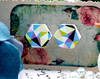 Buy 1 Get 1 Free - 20pcs  (WE21)  Hexagon Handmade Photo Wood Cut Cabochon (Back White)