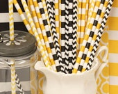 Paper Straws, 25 BUMBLE BEE Paper Straws, Bee Party Straws, Yellow and Black Straws, Construction Party Straws, Yellow TAXI Cab Party Theme