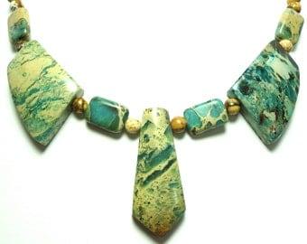 Aqua Sea Sediment Jasper Necklace Aqua Jasper Bib Collar Necklace Aqua Jasper Bib Collar Statement Necklace with Sterling
