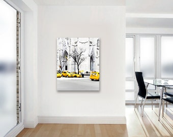 Canvas Art, New York City, Yellow Taxis, Black and White New York Photography on Canvas, Large Wall Art Canvas Vertical