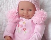 ADORABLE....Pastel Pink...Baby Double Pom Pom Earflap Hat....Newborn up to 3 Month...Girl.....PHOTOGRAPHERS Prop...Ready to Ship