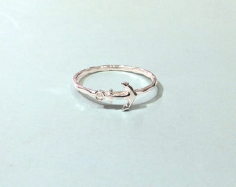 Anchor ring - Sterling silver anchor ring - stacking ring - knuckle ring - midi ring