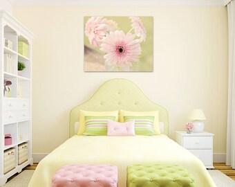 flower canvas girls room decor pink gerber daisy large wall art girl nursery little girls wall decor floral canvas wrap print fine art photo