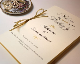 Folded Wedding Program, Gold Glitter Programs, Ceremony Programs, Vintage Wedding, Order of Ceremony - Gold Glitter Program Sample