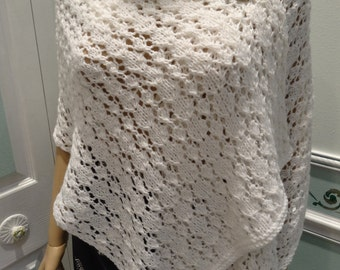 WHITE KNIT SHAWL, Sexy, Designer yarn,White,Sparkling, light weight , hand knitted in an open lacey stitch,with removable brooch