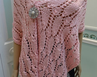 KNITTED SEXY SHAWL, pink, light weight, open lacey stitch, brooch included, 15 wide by 64 long