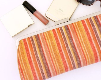 SALE - Leather Clutch / Small Handbag / Frame Clutch / Purse Clutch - Red Stripes