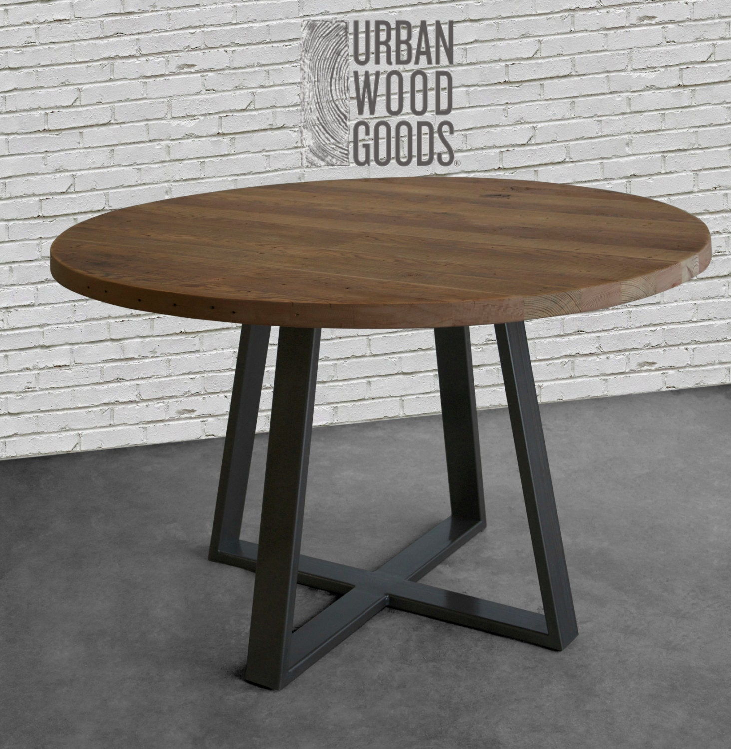 Round dining table in reclaimed wood and steel legs in your for Table 6 4 specification for highway works