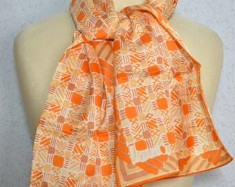 Vera Neumann  long vintage scarf: Yellow, Orange and White Geometric