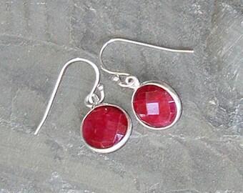 Ruby Earrings, Natural Stone Earrings, Sterling Silver Earrings, Red Earrings, Pink Earrings, Raspberry Earring, Christmas Earrings, Holiday