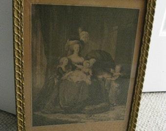 Antique Framed French Lithograph of Marie Antoinette et Ses Enfants