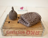 Chunky Posing Blanket and Hat set for Baby, Beautiful Newborn Photography Prop, Mini Blanket