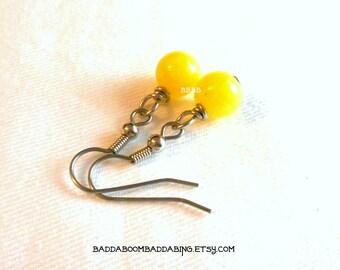 Lemon Yellow Drop Earrings - Surgical Steel French Hooks