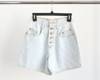 Vintage 80s 1990s Light Wash Denim Jean Shorts High Waisted with Buttons Mom Jeans