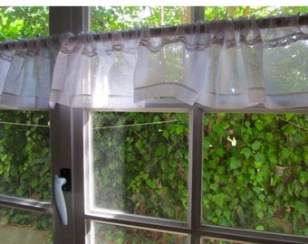 French Linen Lace Valance, White Sheer Curtain, Cantonniere, Window Topper, Bedroom Decor