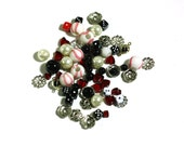 Baseballs, Hearts and Dice Bead Mix: Red, Black, White, and Silver Mixed materials of DESTASH beads, Assorted shapes and sizes - 75 pieces