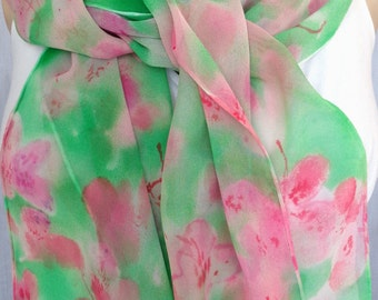 silk scarf extra long chiffon Pink Pastel Azalea unique hand painted wearable art