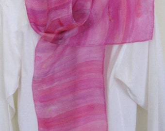 Hand painted silk scarf pink shades gold flecks Canadian design 8x54