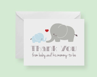 Set of 10 - Blue Elephant Baby Shower Thank-You Cards