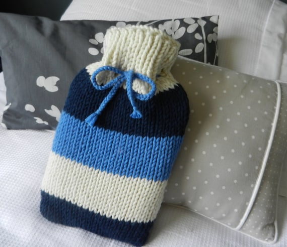 hot water bottle cover cozy chunky knit nautical blue by ...