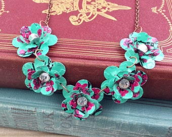 5 Mini Rose Statement Necklace.   Recycled Soda Can Art.  AZ Tea