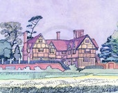 Tudor House, House of Tudor, English Monarchs, Medieval Architecture, 1920s, Print