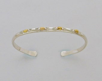 Four Nugget Cuff Bracelet – Sterling Silver and Alaskan Natural Gold Nuggets