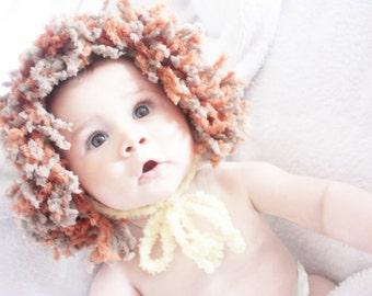 SUMMER SALE 6 to 12m Lion Hat Baby Lion Mane Hat - Animal Hat Baby Bonnet Crochet Lion Baby Hat Yellow Brown Orange Baby Photo Prop