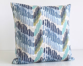 Decorative Pillow Cover, Zigzag Pillow Case, 16 Inch Pillow, Pillow Sham, 16x16 Cushion Cover, Throw Pillow Cover, Pillow Cover - Optic Blue