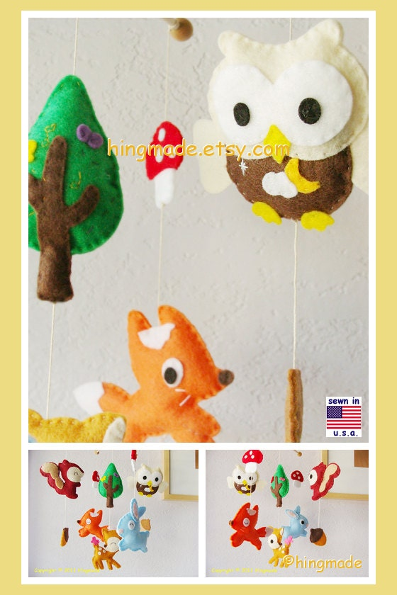 Baby Mobile Baby Crib Mobile Forest Animals Woodland By
