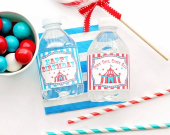 Carnival Water Bottle Labels - Carnival Bottle Wraps - Carnival Party Decor - Boys Carnival Party - Carnival Party Favors - Circus Party