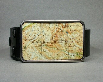 Belt Buckle Rocky Mountain Colorado Vintage Map National Park Colorado
