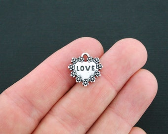 6 Love Amour Heart Charms Antique Silver Tone 2 Sided - SC621