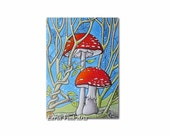 ACEO print / artist trading card / art miniature print, red and white mushrooms and spider webs, Amanita muscaria