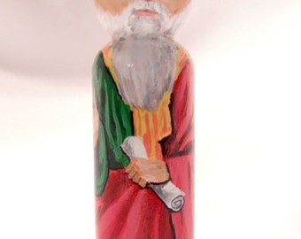 Elijah the Prophet - Catholic Saint Wooden Peg Doll Toy -  made to order