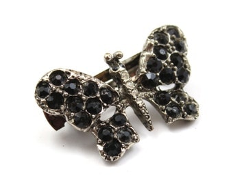 Vintage Hair Barrette with Black Swarovski Crystals Butterfly