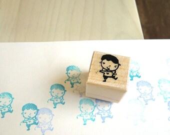 Cute Boy Stamp - Cute Gardener Stamp, Wooden Rubber Stamp