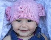 Pink elephant hat, beanie, soft pure wool, for babies 7-12 months old