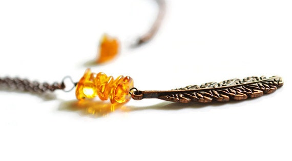 Amber Feather Necklace, Copper Necklace, Antique Copper Necklace, Long Boho Necklace, Baltic Amber Necklace