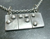 Braille Necklace- Tactile Jewelry- Fine Silver Pendant- Silver Word Jewelry- Brail Pendant- Braille Jewelry- Initial Necklace- Date Jewelry