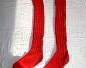 "1970's Vintage Red Wool Men's Ski Socks Super Long 24"""
