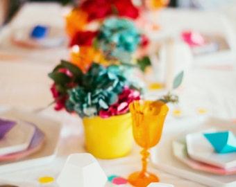CMYK Confetti Hexagons, beautiful translucent large vellum paper confetti, perfect for wedding decor, special occasion table decor