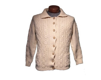 Vintage Cream Cableknit Fisherman Cardigan Sweater Size Small