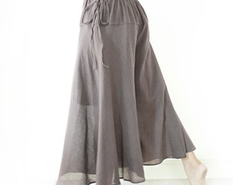 Summer Wide Leg Cotton Drawstring Waist Pants, Beach Boho Pants, Loose Maternity Pants in Gray