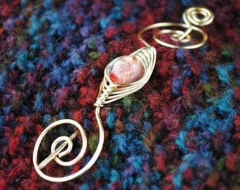 Gold and Red Shawl Pin