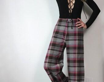 Love Story Vintage 70s Plaid Pants Tailored Plaid Wide Leg Trousers s m