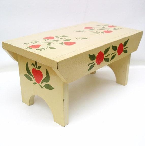 Vintage Wood Step Stool Wooden Bench Folk Art Wood Hand