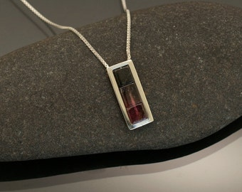 Modern Tourmaline Necklace in Rose and Dark Green Hues