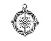 Antique Silver Navigation Compass Pendants | Silver Sailing Charms [Choose 1 piece or 10 pieces] -- 12683.J4G