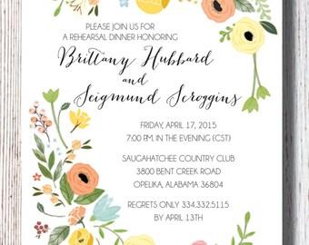 Floral  Bridal Rehearsal Dinner Invitation